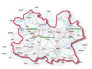 kaartje van de Euregio waarop zijn bezittingen, Weleveld en Welbergen, en zijn voorvaderlijk huis, de Schelenburg, staan aangegeven.